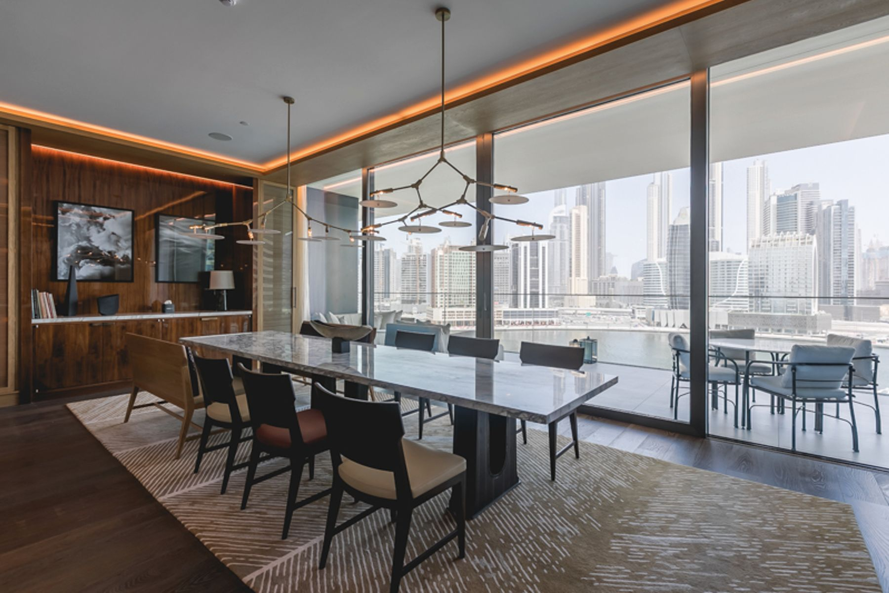 area rug used in a dubai penthouse dining room