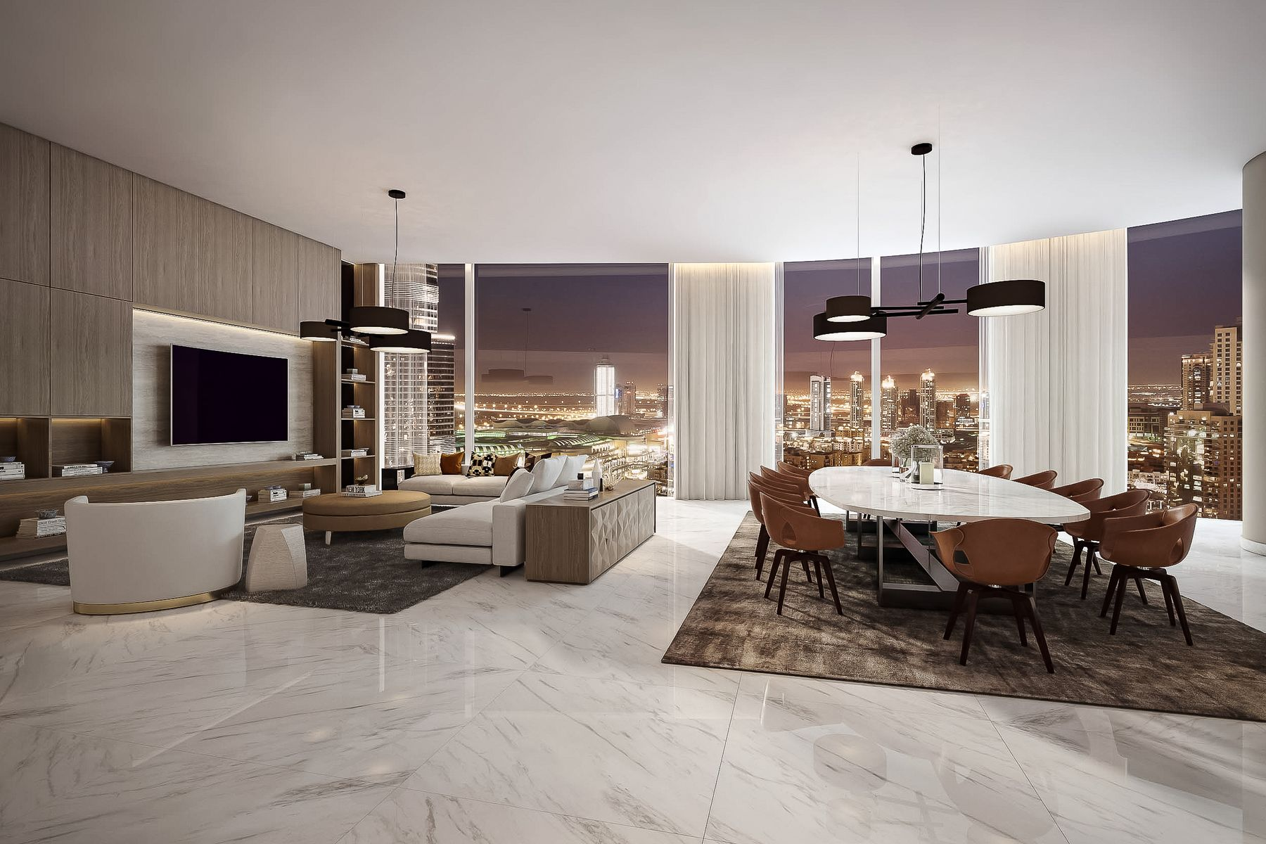 large penthouse in IL Primo downtown dubai with open floor plan and marble floors