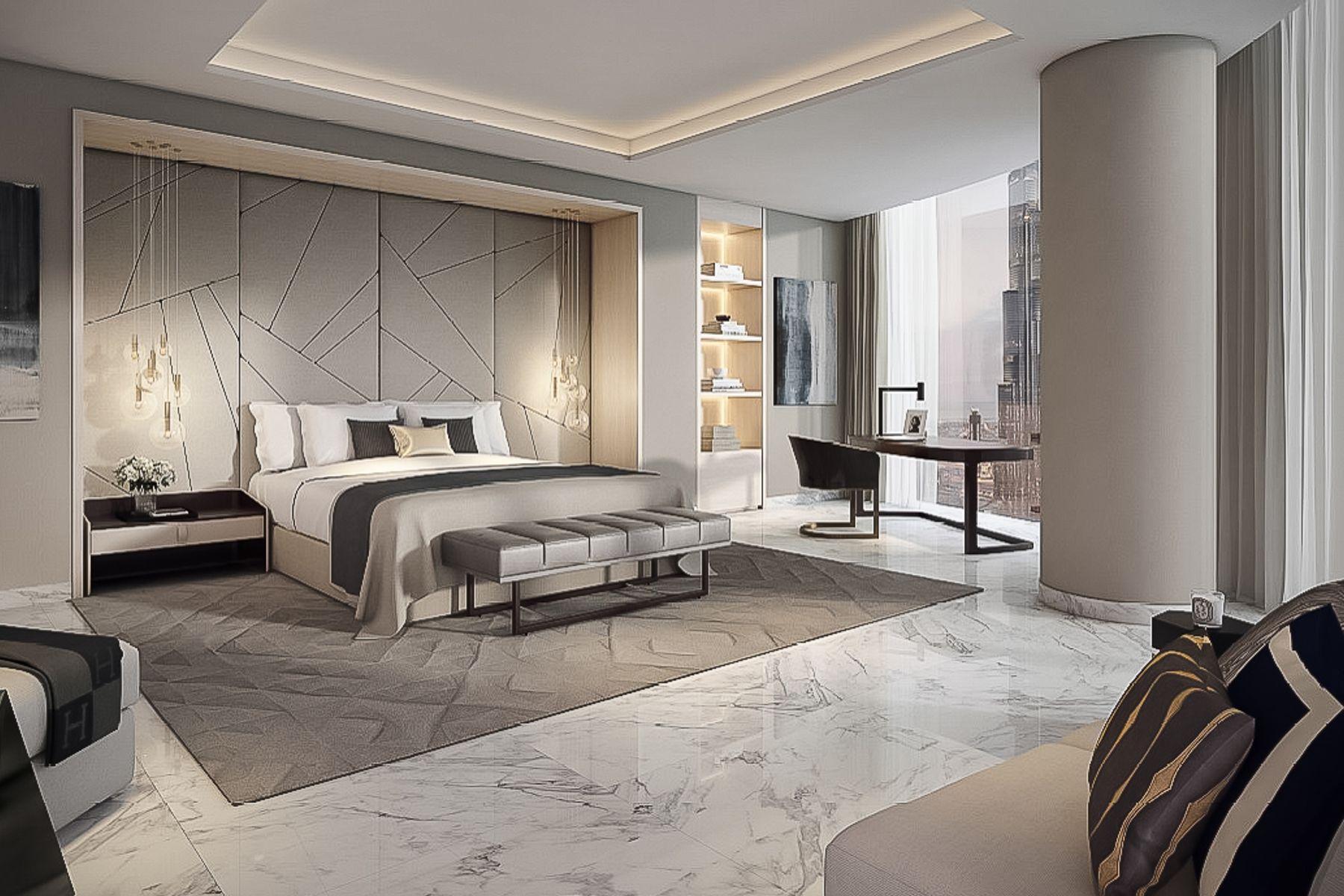 lavish bedroom with carerra marble floors in dubai