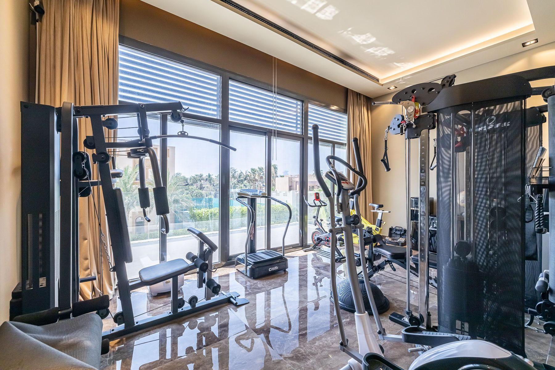 dubai villa with a private gym and water views